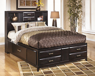 Kira Queen Storage Bed with 8 Drawers, Almost Black, rollover