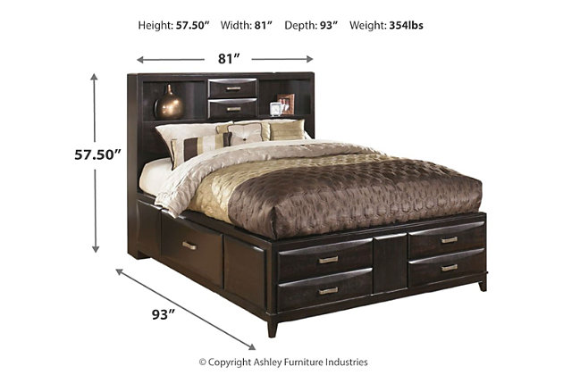 Kira King Storage Bed with 8 Drawers, Almost Black, large
