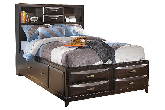 kira lit double avec rangement meubles ashley homestore. Black Bedroom Furniture Sets. Home Design Ideas