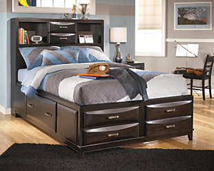 Kira Full Storage Bed, Almost Black, rollover