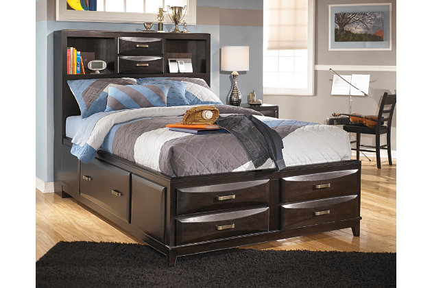 Kira Full Storage Bed with 7 Drawers, Almost Black, large
