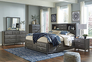 Caitbrook Queen Storage Bed with 8 Drawers, Gray, large