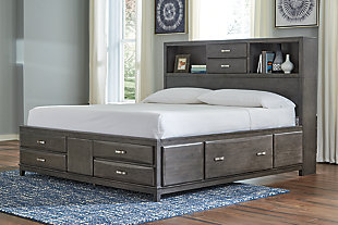 Caitbrook Queen Storage Bed with 8 Drawers, Gray, rollover