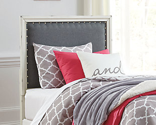 Faelene Twin Upholstered Headboard, Gray, rollover