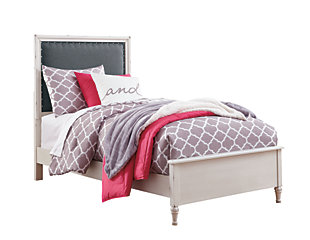Faelene Twin Panel Bed, Chipped White, large