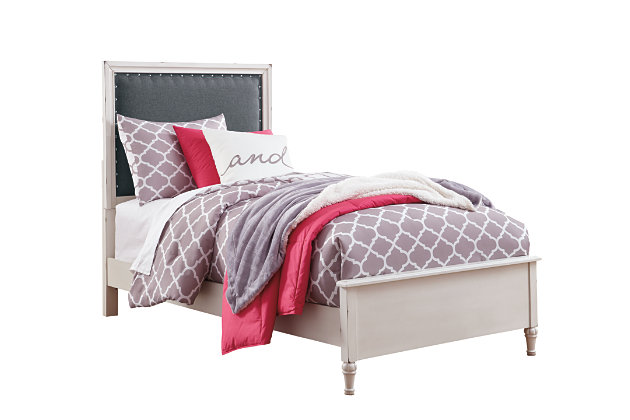 Faelene Twin Upholstered Bed, Chipped White, large