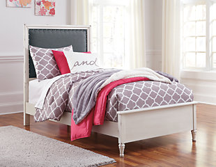 Faelene Twin Upholstered Bed, Chipped White, rollover