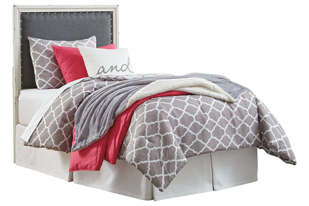 Faelene Twin Upholstered Headboard, Gray, large