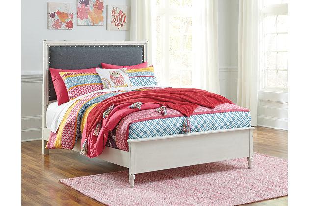 Faelene Full Upholstered Bed, Chipped White, large