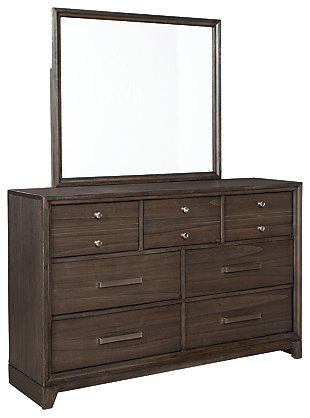 Brueban Queen Panel Bed with 2 Storage Drawers with Mirrored Dresser, Rich Brown/Gray, large