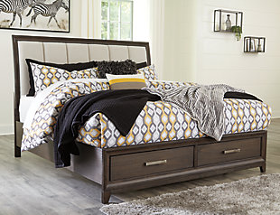 Brueban Queen Panel Bed with 2 Storage Drawers with Mirrored Dresser, Rich Brown/Gray, rollover