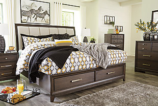 Brueban Queen Panel Bed with 2 Storage Drawers, Rich Brown/Gray, large