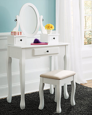 Kaslyn Vanity and Mirror with Stool, , rollover