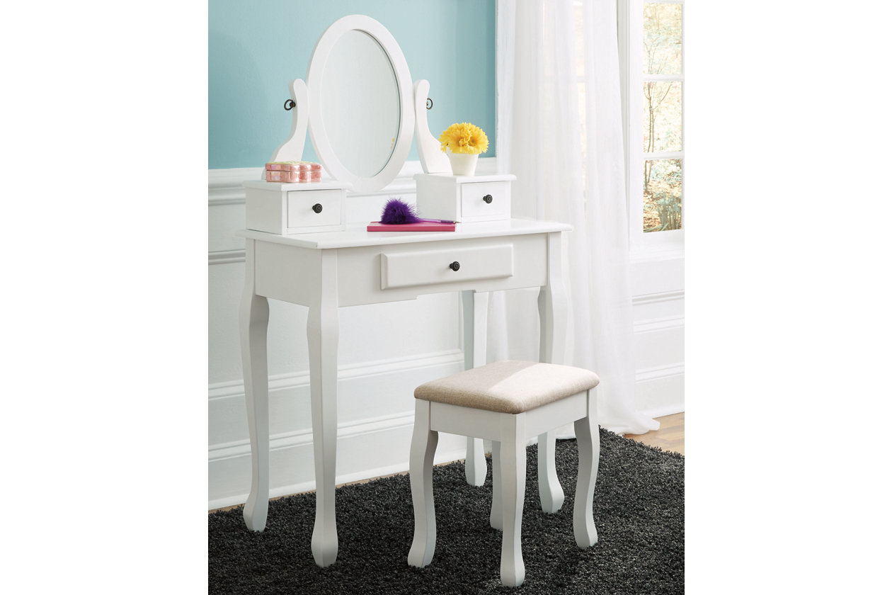Kaslyn Vanity and Mirror with Stool  Ashley Furniture HomeStore