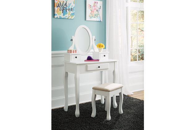 Kaslyn Vanity and Mirror with Stool, , large