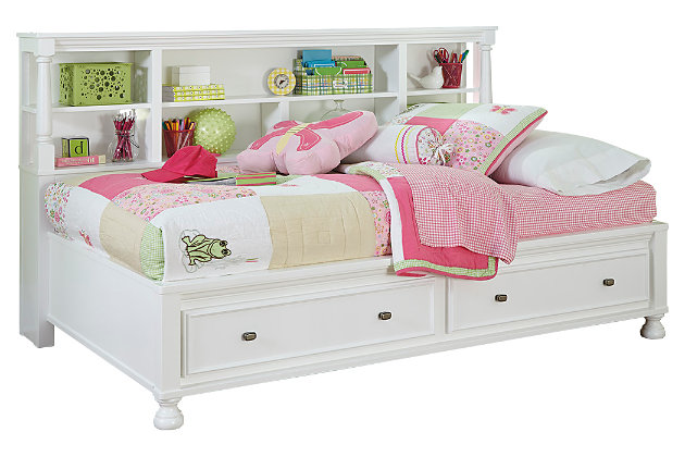 Kaslyn Twin Bookcase Bed White Large