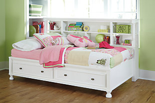 Kaslyn Twin Bookcase Bed, White, rollover