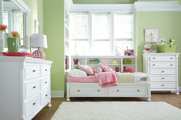 white studio bed features a full size bookcase headboard and footboard  storage design - Kaslyn Twin Bookcase Bed Ashley Furniture HomeStore
