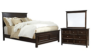 Alexee 5-Piece Queen Bedroom, Dark Brown, large