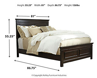 Alexee California King Panel Bed, Dark Brown, large