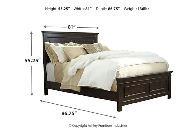 Alexee King Panel Bed, Dark Brown, large