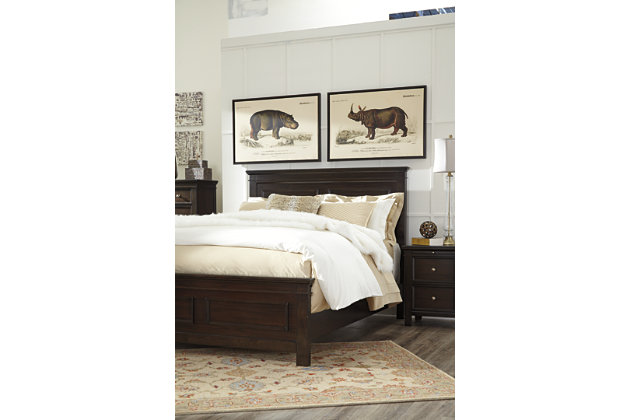 Alexee Queen Panel Bed, Dark Brown, large