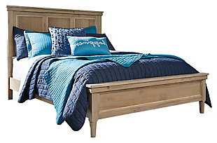Klasholm Queen Bed with 2 Nightstands, Light Brown, large