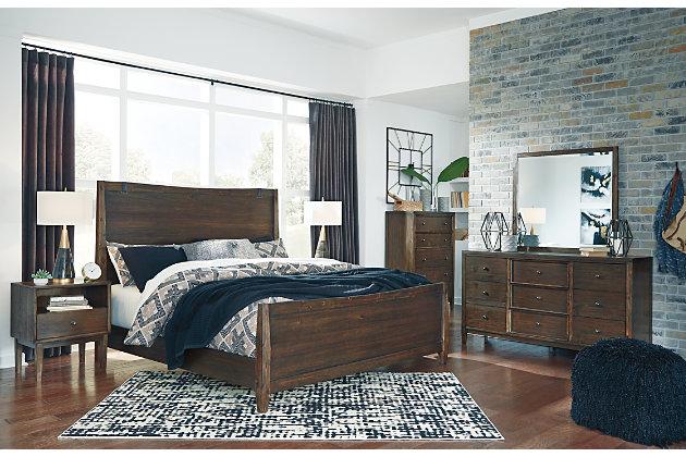 Kisper Queen Panel Bed, Brown, large