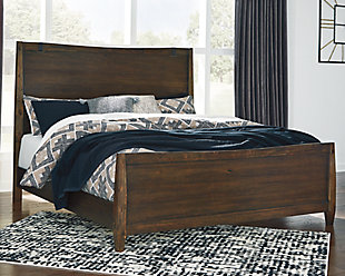 Kisper Queen Panel Bed, Brown, rollover