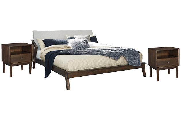 Kisper Queen Platform Bed with 2 Nightstands, Brown, large
