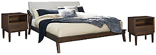 Kisper Queen Platform Bed with 2 Nightstands, Brown, large