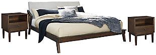 Kisper King Platform Bed with 2 Nightstands, Brown, large