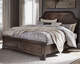 Adinton Queen Panel Bed with 2 Storage Drawers, Brown, large