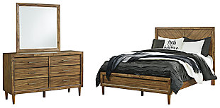 Broshtan Queen Panel Bed with Mirrored Dresser, , large