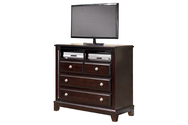 Bedroom furniture shown on a white background. Ridgley Media Chest   Ashley Furniture HomeStore
