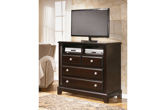 beautiful media chest features four drawers and two cubbies to accommodate  your entertainment. Ridgley Media Chest   Ashley Furniture HomeStore