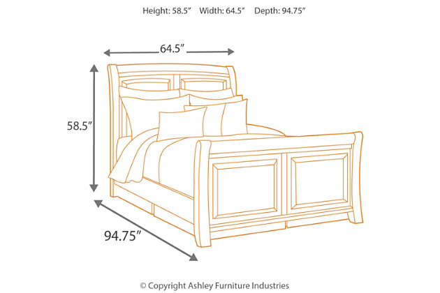 Ridgley King Sleigh Bed, Dark Brown, large