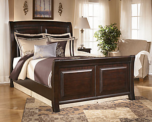 Ridgley King Sleigh Bed, Dark Brown, rollover