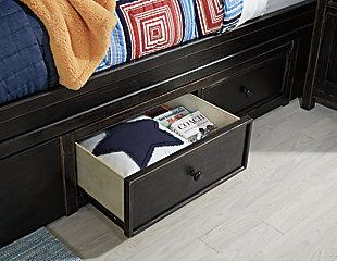 Jaysom Full Panel Bed with Storage, Black, large
