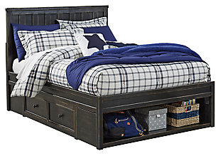 Jaysom Kids Twin Panel Bed with Storage, Black, large