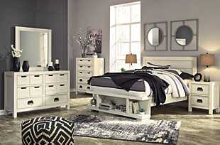 Blinton Queen Panel Bed with Storage, White, large