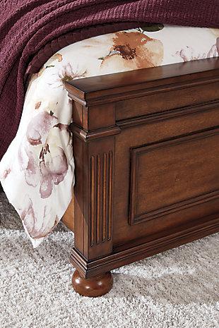 Lazzene Queen Panel Bed, Medium Brown, large