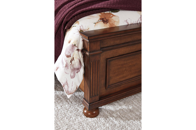 Lazzene Queen Panel Bed, Medium Brown, large