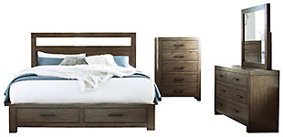 Deylin Queen Panel Bed with 2 Storage Drawers with Mirrored Dresser and Chest, Grayish Brown, large