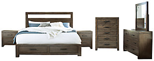 Deylin Queen Panel Bed with 2 Storage Drawers with Mirrored Dresser, Chest and 2 Nightstands, Grayish Brown, rollover