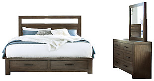 Deylin Queen Panel Bed with 2 Storage Drawers with Mirrored Dresser, Grayish Brown, large
