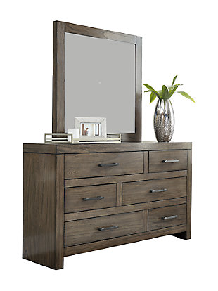 Deylin Queen Panel Bed with 2 Storage Drawers with Mirrored Dresser, Chest and Nightstand, Grayish Brown, large