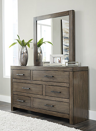 Deylin Queen Panel Bed with 2 Storage Drawers with Mirrored Dresser, Chest and 2 Nightstands, Grayish Brown, large