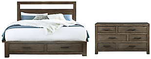 Deylin Queen Panel Bed with 2 Storage Drawers with Dresser, Grayish Brown, large