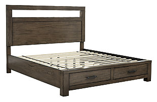 Deylin King Panel Bed with Storage, Grayish Brown, large